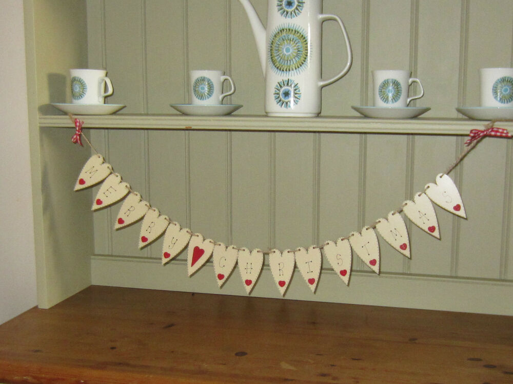 Christmas heart garland merry christmas bunting banner for Shabby chic garland lights