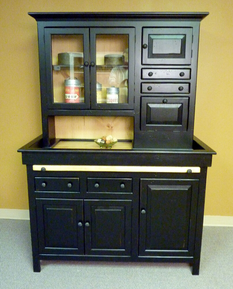Antique Kitchens: Large Pine Hoosier Cabinet, USA Made Antique Reproduction