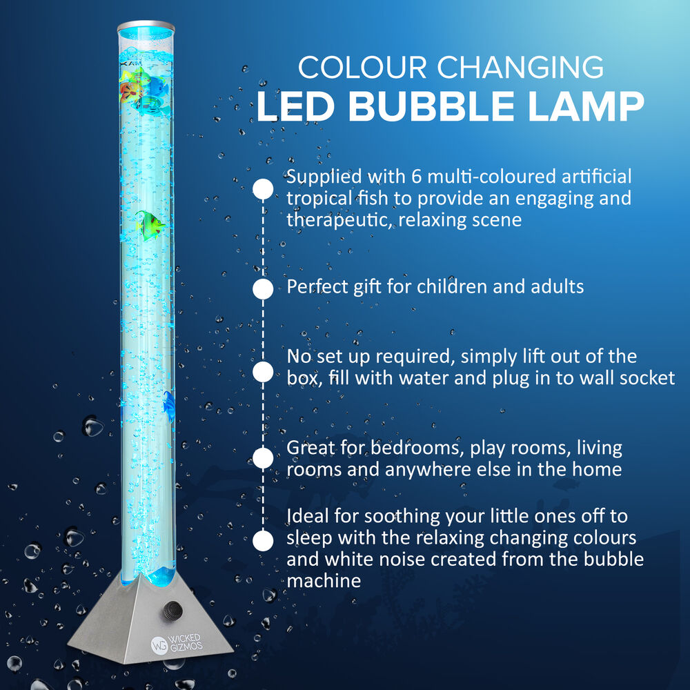 Set 1 2 4 Colour Changing Led Sensory Mood Bubble 5 Fish Water Tower Floor Lamp Ebay