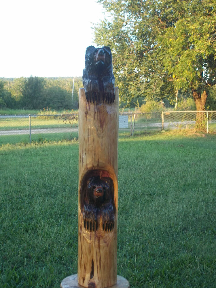 Chainsaw carving bear cubs totem pole wood hand carved