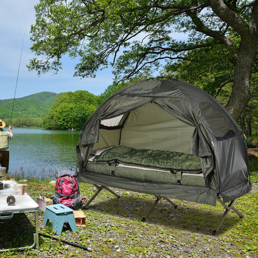 New outsunny single portable camping tent bed cot w - Matelas gonflable ez bed ...