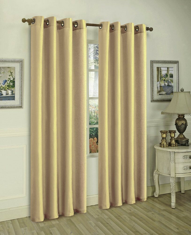 2 Gold Panels Semi Sheer Grommet Window Curtain 56 Wx 84