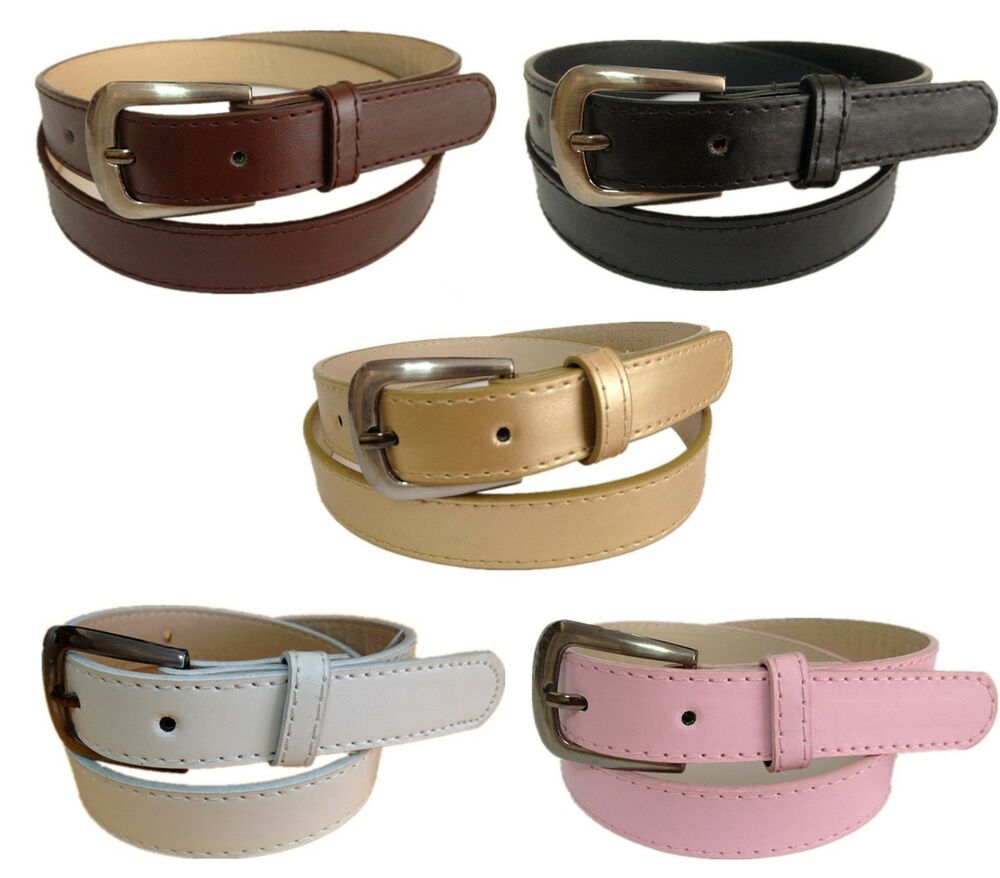 leather belt black brown gold white pink