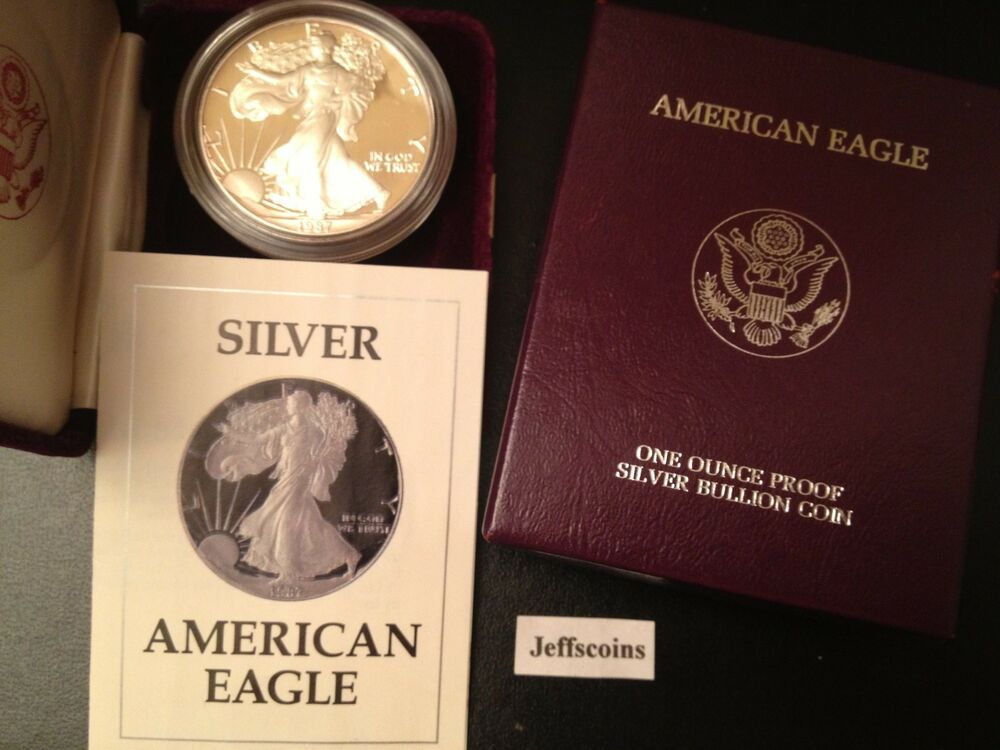 1987 S Proof American Silver Eagle Dollar With Original Us
