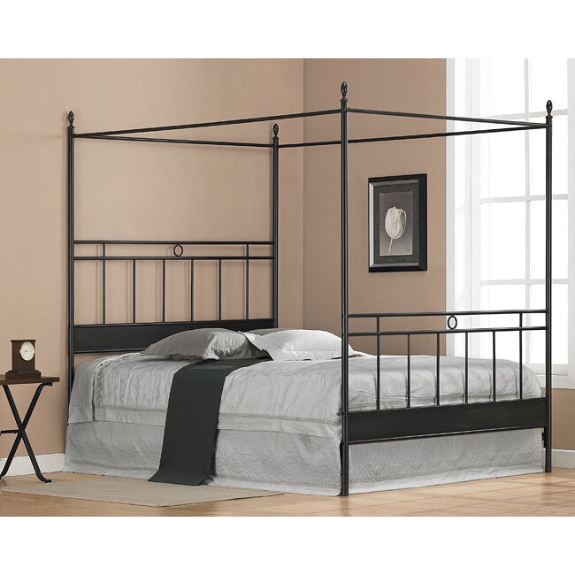 Steel Metal Full Size Canopy Bed Headboard Footboard