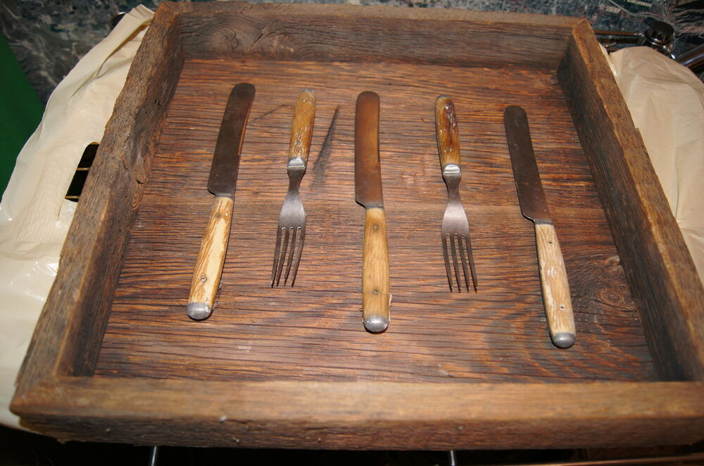 Antique Knifes And Forks Bone Handle In Barn Wood Display