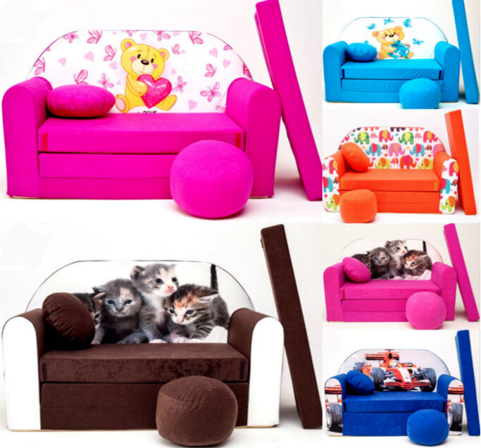 Kids Room Coach Sofa Bed Present Pouffe Small Pillow