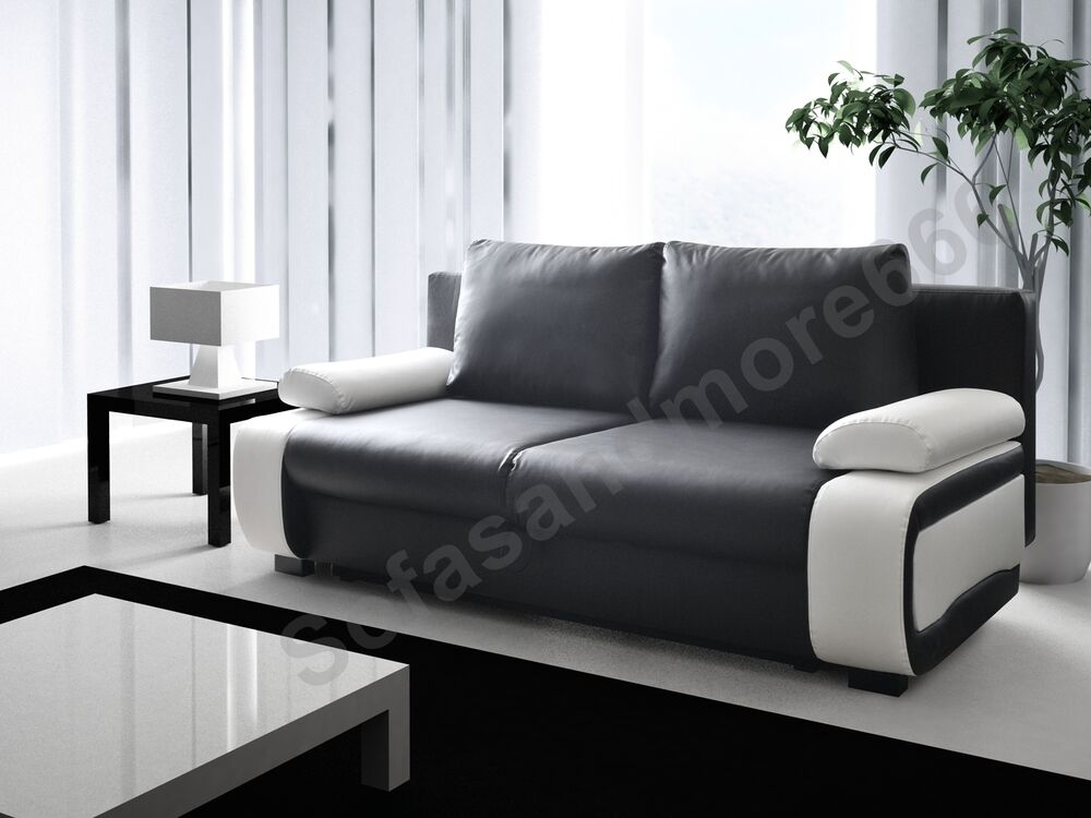 sofa bed 3 seater black white or brown cream with storage faux leather ebay. Black Bedroom Furniture Sets. Home Design Ideas