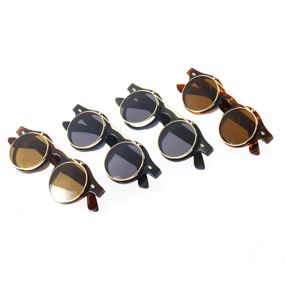 Glasses Frame Flip Up : Vintage Retro Steampunk Frame Costume Round Circle Flip Up ...