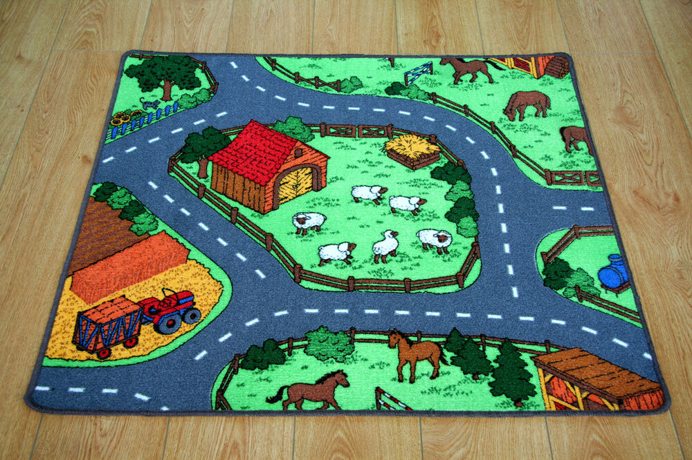 Farm Yard Children S Rug Kid S Animal Village Road Play