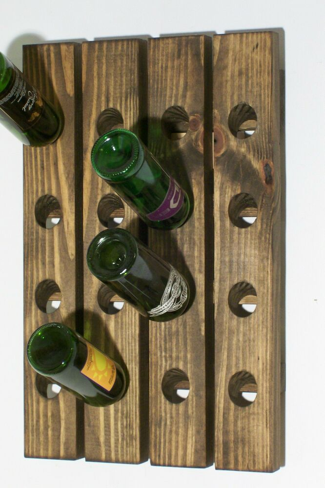 Wood riddling rack handmade wall hanging wine rack ebay Hanging wooden wine rack