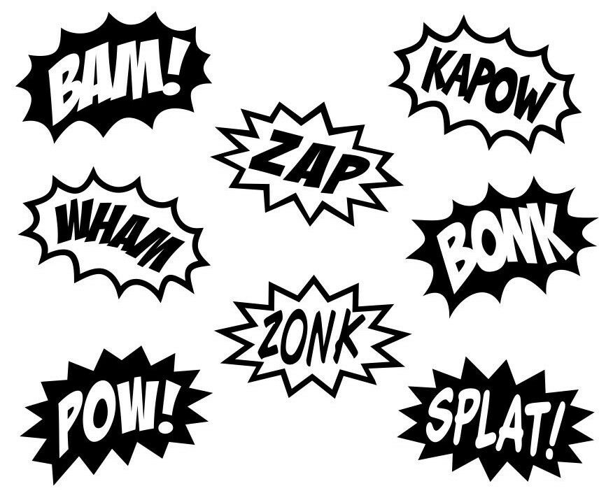 COMIC SPLASHES SUPERHERO CARTOON Kids Vinyl Wall Art Decal ...
