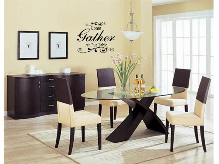 Come gather at our table wall art decal decor kitchen - How to decorate a dining room ...
