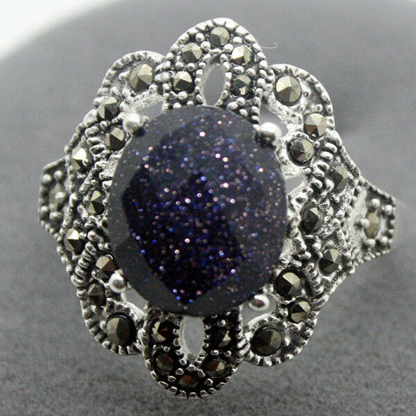rare sterling silver 925 blue goldstone marcasite jewelry