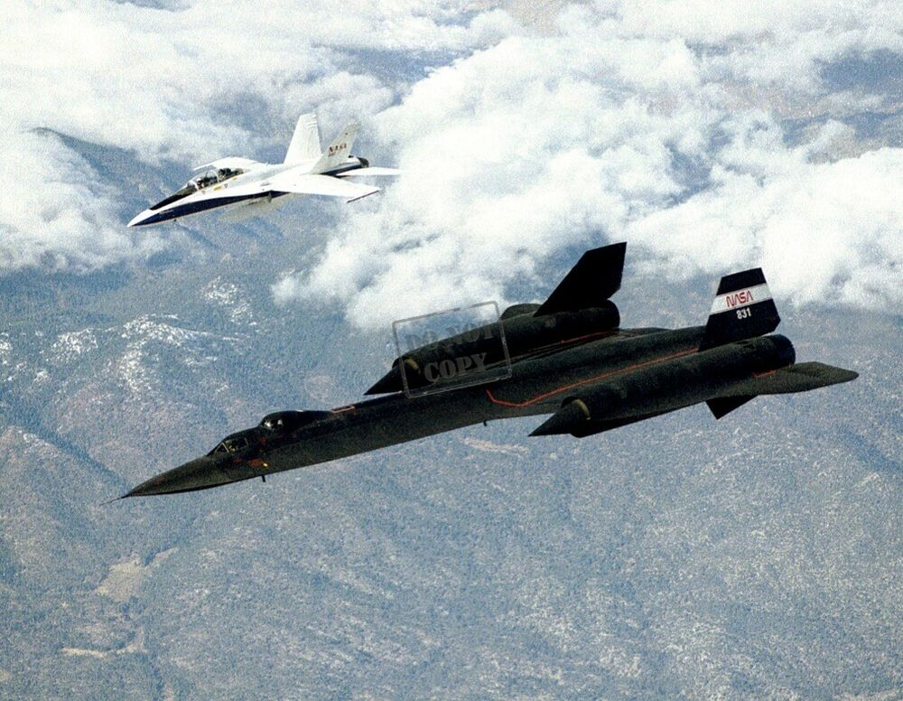 "SR-71B ""Blackbird"" in Flight with F-18 Chase Aircraft 8X12 ..."