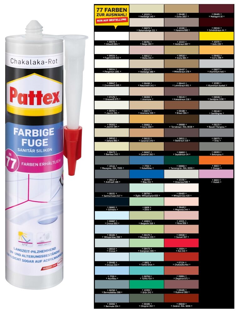 pattex farbige fuge 300ml in 77 modernen farben sanit r bau silikon pfffa ebay. Black Bedroom Furniture Sets. Home Design Ideas
