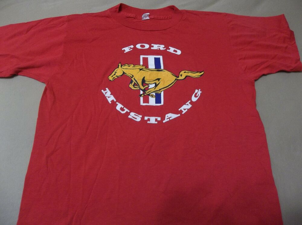 Vtg 80s ford mustang logo t shirt size large true vintage for Vintage mustang t shirt