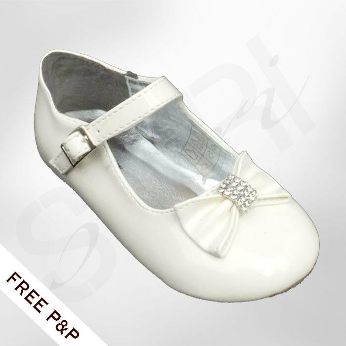 Baby Girls Christening Shoes Ivory Cream Wedding Flower Girl Shoes