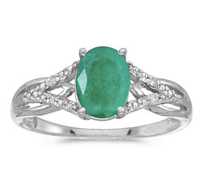 1 10ct genuine emerald and ring 10k white