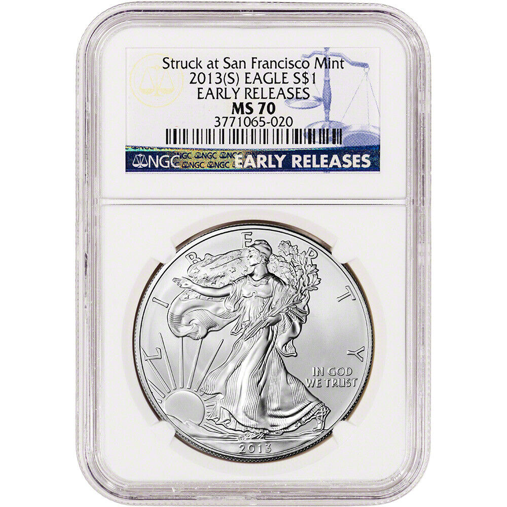 2013 S American Silver Eagle Ngc Ms70 Early Releases
