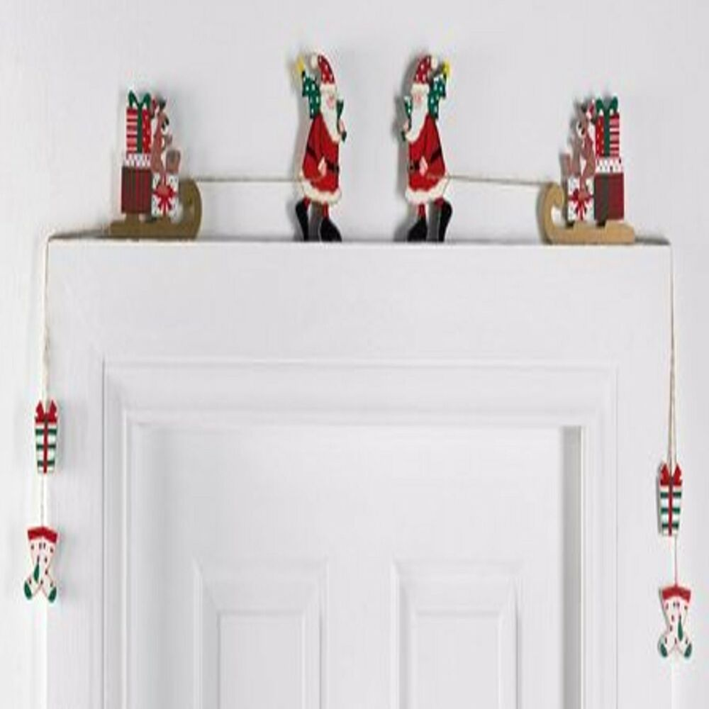 New christmas overdoor decoration santa reindeer for Above door decoration