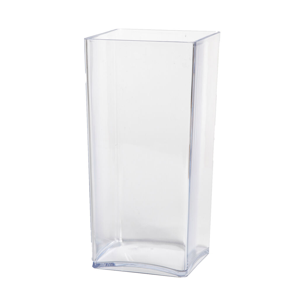 25cm clear acrylic cube vase lightweight durable square shape plastic container ebay. Black Bedroom Furniture Sets. Home Design Ideas