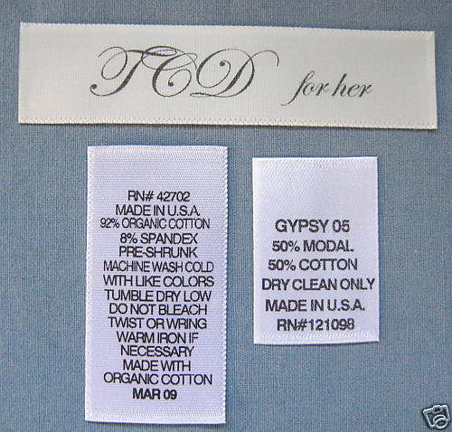 250 PIECES CUSTOM SATIN PRINTED CARE TAGS CLOTHING LABELS
