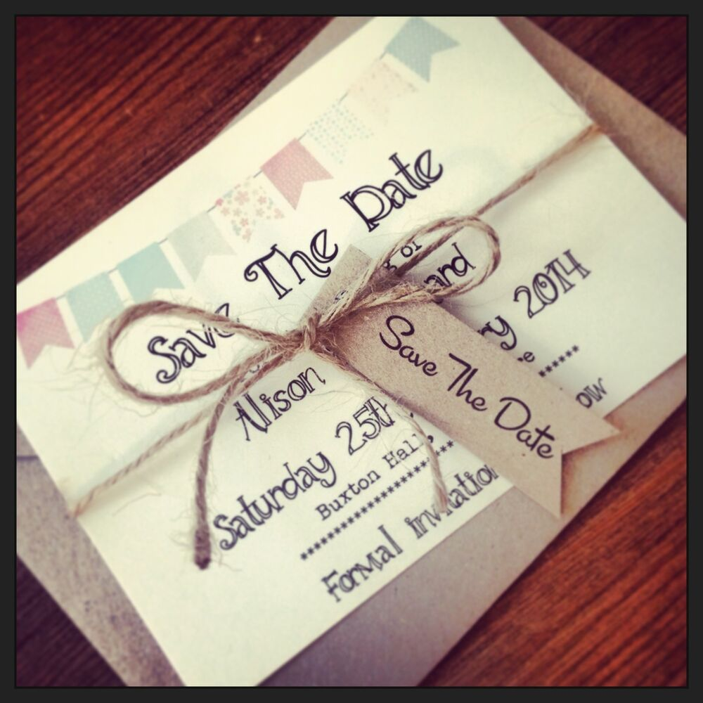 1 VintageShabby Chic Style Bunting Save The Date Sample