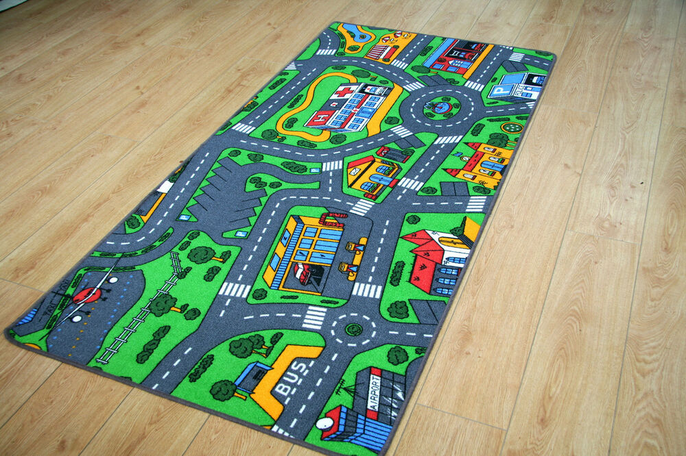 Children S Rugs 94cm X 164cm Town Road Map City Rug Play