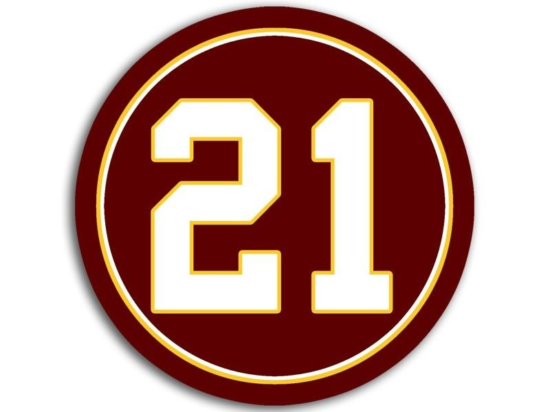 4x4 Inch Round #21 Redskins Colors Sticker -decal Football