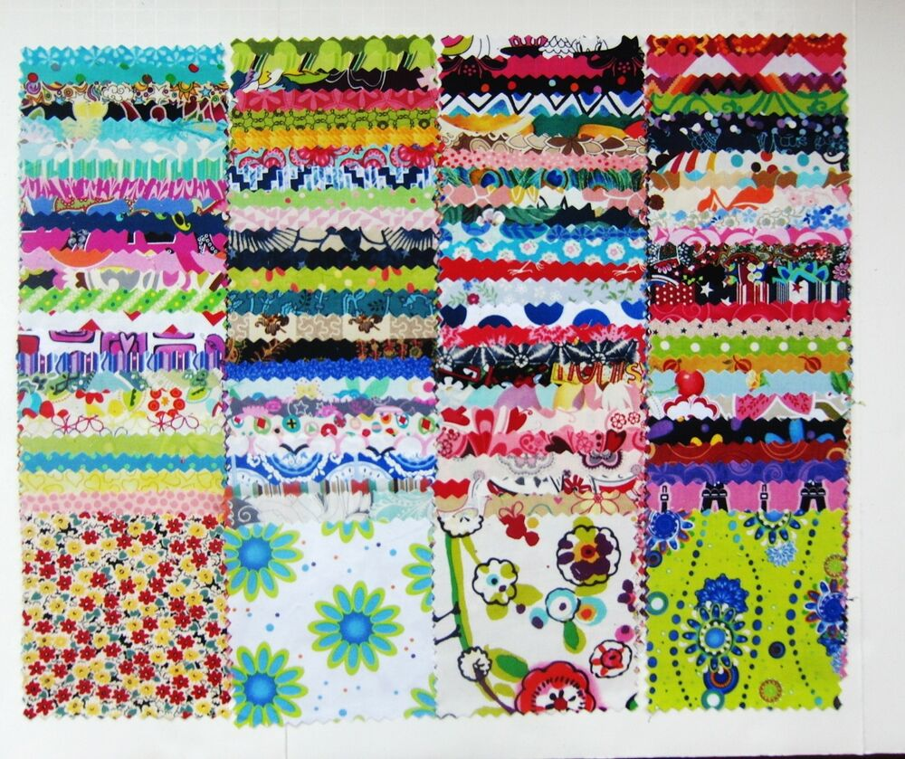 "100 Assorted pre cut charm pack 5"" squares 100% cotton ..."