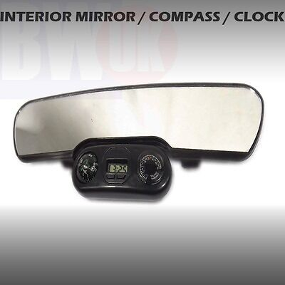 large car rear view interior mirror universal clock compass temperature ac26 ebay. Black Bedroom Furniture Sets. Home Design Ideas