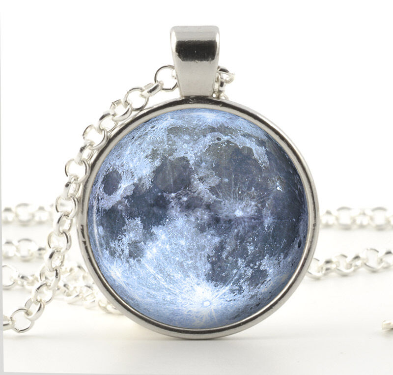 Outer Space Diamond: Silver Full Moon Necklace