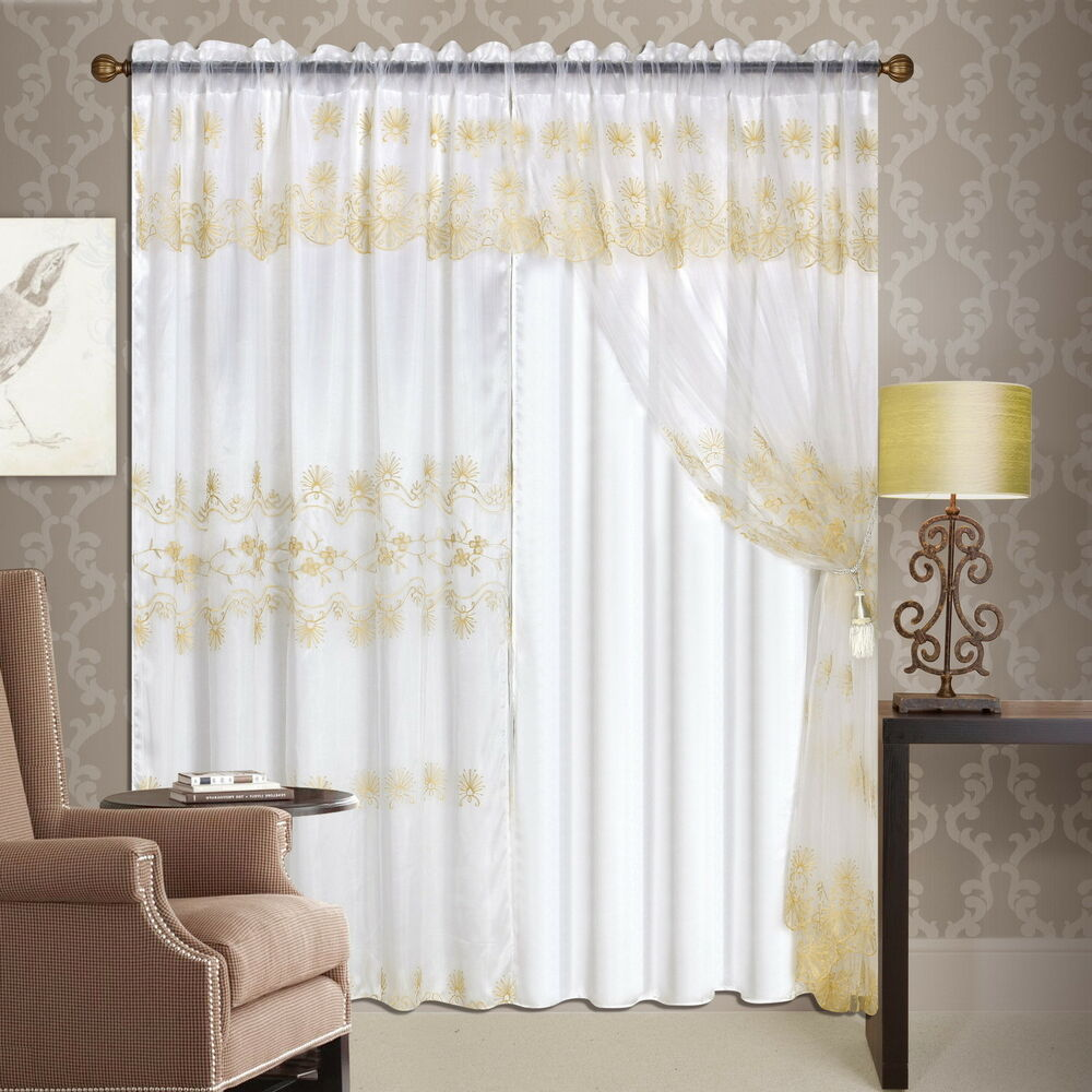 5 Panel Window : Luxury lined curtain drapes set sheer window treatment