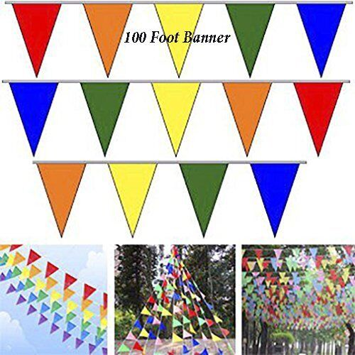 100' Multi Color Flag Pennant Banner Party Decor Birthday