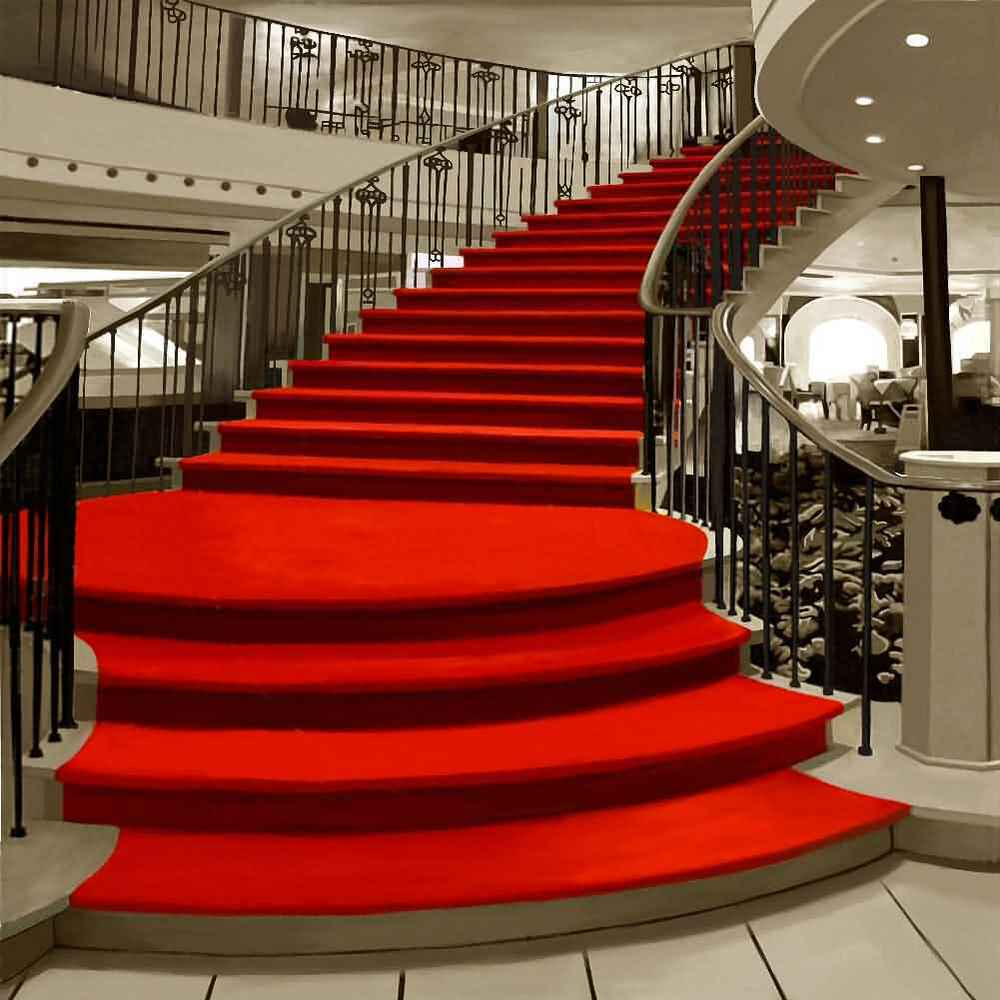 Red Carpet Stairs 10x10 CP Backdrop Computer Printed