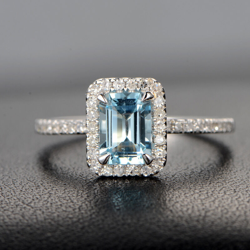 Claw prongs 14k white gold emerald cut aquamarine h si for Wedding rings aquamarine
