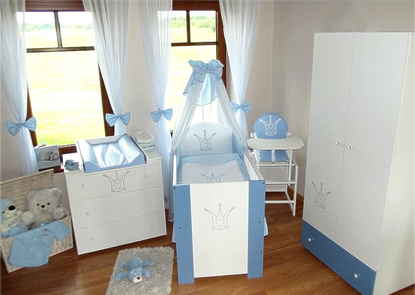 krone blau komplett set babybett kinderbett wickelkommode schrank babyzimmer ebay. Black Bedroom Furniture Sets. Home Design Ideas