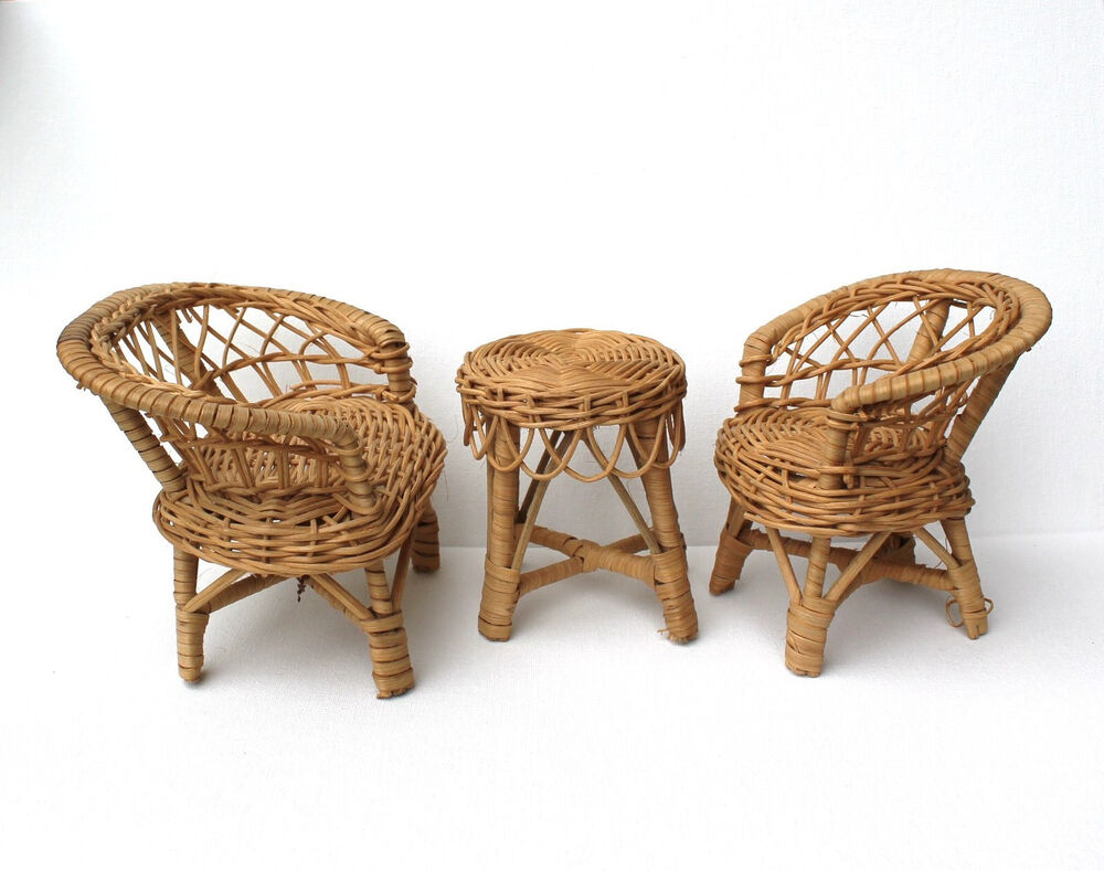 Wicker Doll Furniture Set Sofa Loveseat Chair Amp Table 3 Pc