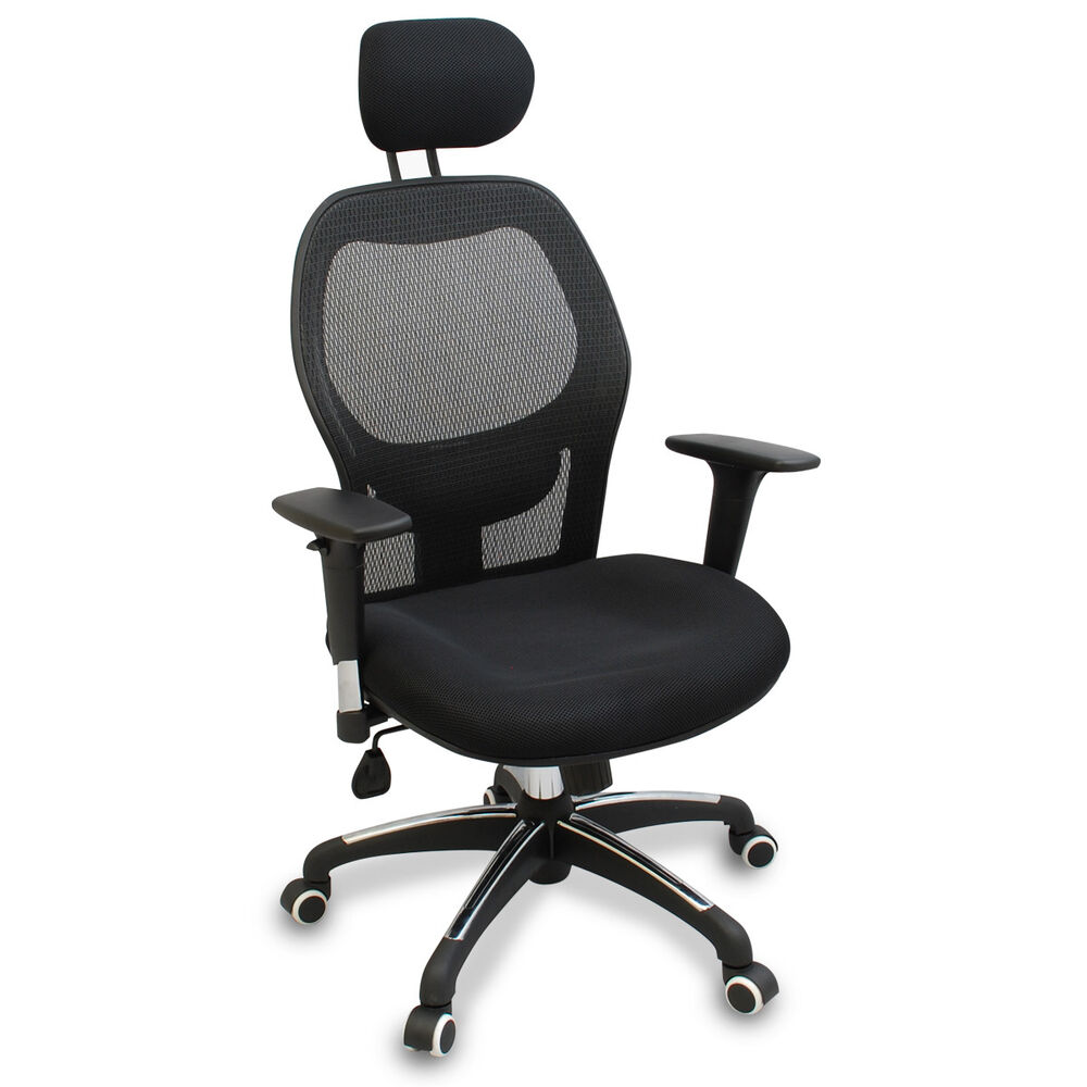 new mesh ergonomic office chair w adjustable headrest arms and lumbar support ebay. Black Bedroom Furniture Sets. Home Design Ideas