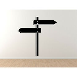 Town Sign Post Trail Hiking Navigation Direction Arrows - Vinyl Wall Decal Art
