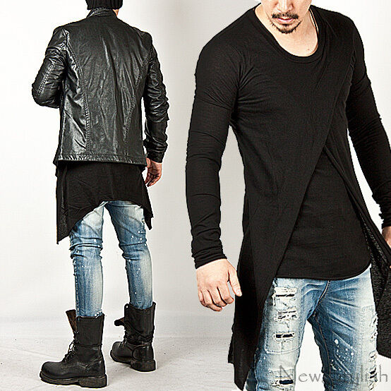 Unique And Fashionable Long Men: New Mens Fashion Mod Shirts Tops Outwear Cross Layered