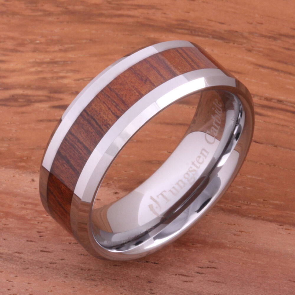 Koa Wood Tungsten Rings Wedding Ring Beveled Edge Mens