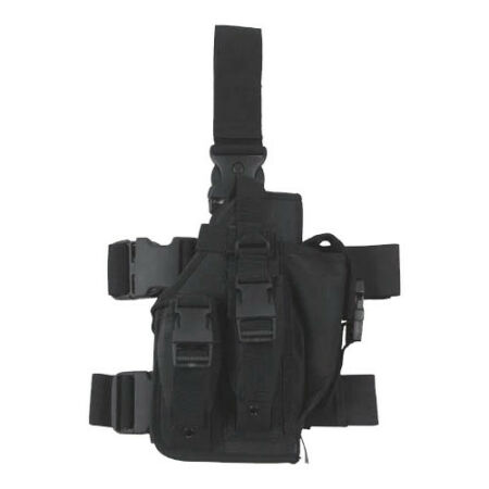 img-COMBAT TACTICAL LEG HOLSTER 3 MAG POUCHES ARMY MILITARY SECURITY RANGE BLACK