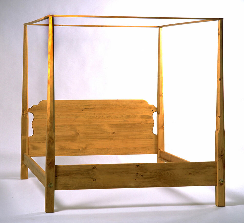 Antique Pencil Post Rice Bed Gray White And Copper Bedroom: King Pencil Post Bed In Honey Pine, Handcrafted From Solid