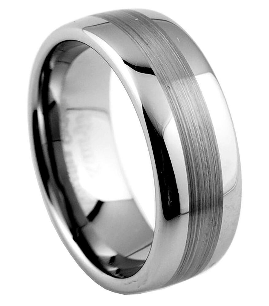 8mm mens tungsten carbide wedding band ring brushed finish. Black Bedroom Furniture Sets. Home Design Ideas
