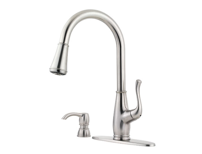 price pfister sedgwick single handle pull down kitchen faucet in