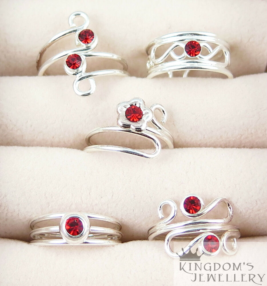 925 Sterling Silver Red Crystals Toe Rings with many ...