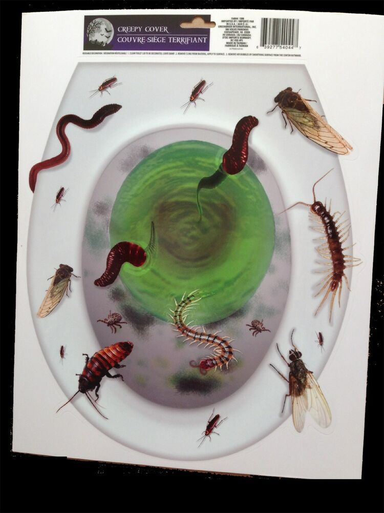 Creepy Horror Prop Bugs Toilet Topper Cling Decal Bathroom