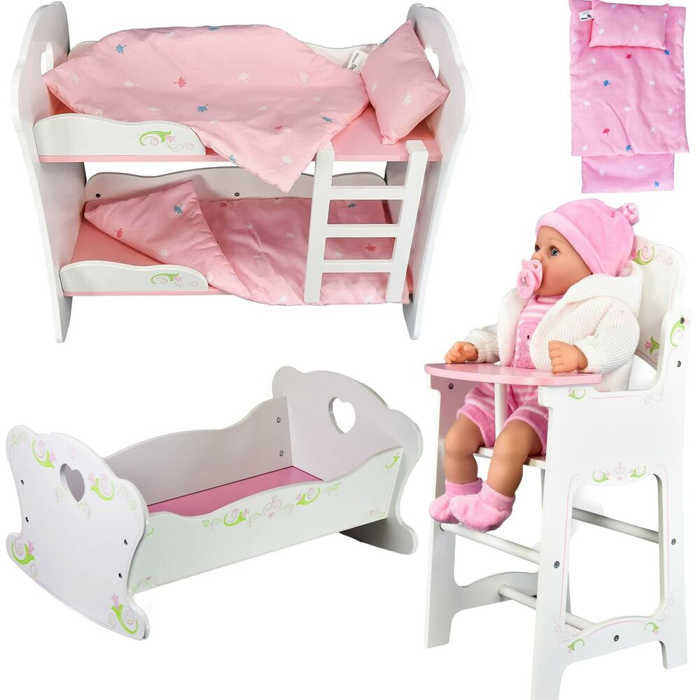 New Dolls Wooden Set High Chair Rocking Crib Cot Bed Pram